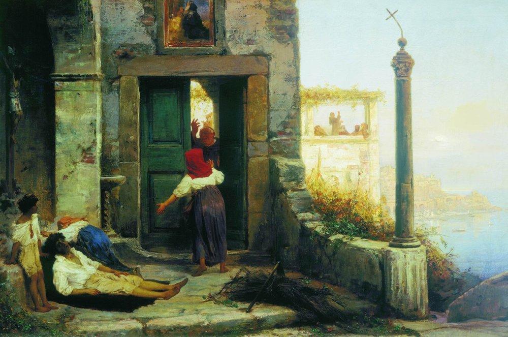 Sick man at the walls of a Catholic monastery, 1874