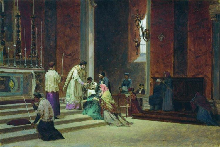 The Catholic Mass, 1869 - Fyodor Bronnikov