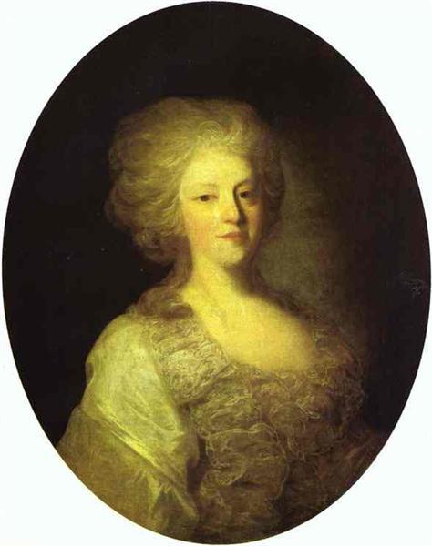 Portrait of Praskovya Nikolayevna Lanskaya, c.1790 - Федір Рокотов