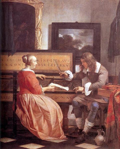A Man and a Woman Seated by a Virginal, 1658 - 1660 - Gabriël Metsu