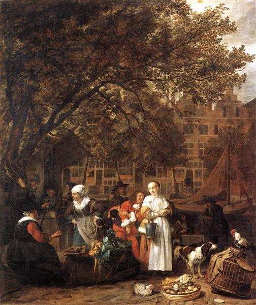 Vegetable Market in Amsterdam, 1661 - 1662 - Gabriel Metsu