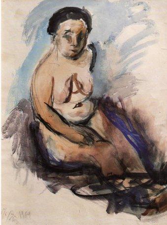 Nude sitting woman, 1919 - George Bouzianis