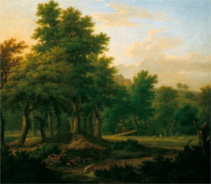 Wooded Landscape with Gypsies, Evening, 1745 - Джордж Ламберт