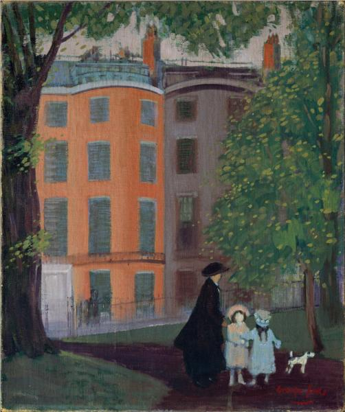 View of Beacon Street from Boston Common, 1923 - George Luks