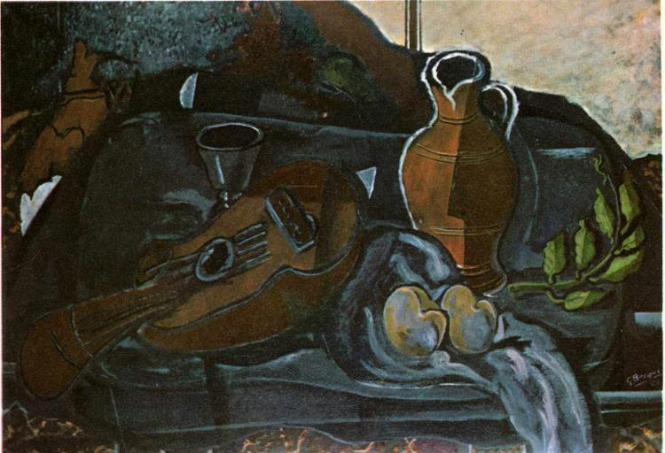 Mandolin, Glass, Pot and Fruit, 1927 - Georges Braque
