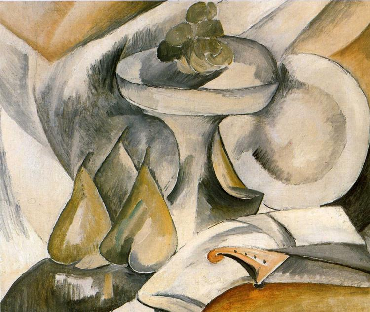 Zorz Brak ( Georges Braque ) - Page 3 Plate-and-fruit-dish-1908