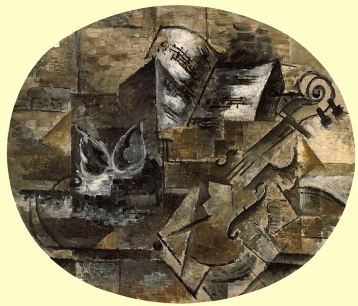 Violin and Musical Score, c.1910 - Georges Braque