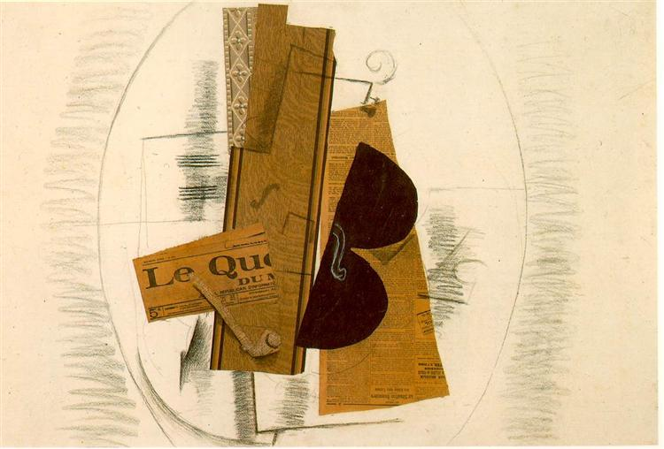 Violin and Pipe, 'Le Quotidien', 1913 - Georges Braque