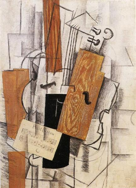 Violin and Sheet Music on a Table (Petit Oiseau), 1913 - Georges Braque