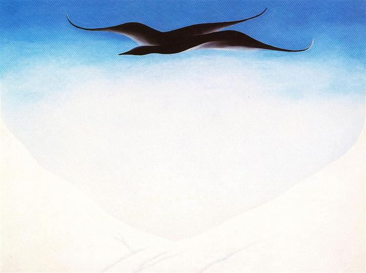 A Black Bird With Snow Covered Red Hills, 1946 - Georgia O'Keeffe