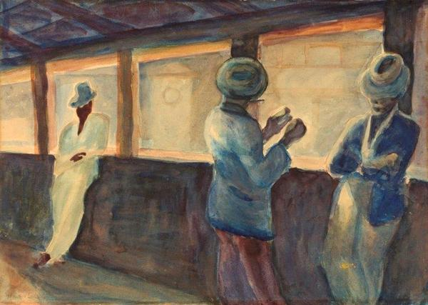 THREE MEN AT A RAILWAY STATION, 1940 - Gerard Sekoto