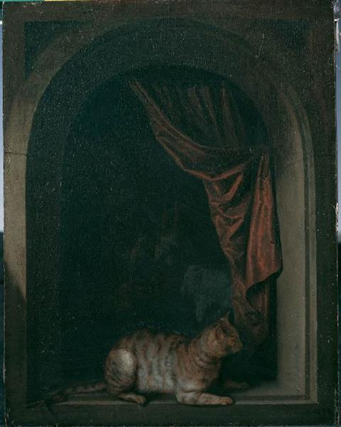 A Cat in the Window of a Painter's Studio, 1657 - Gerrit Dou