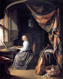 A Lady Playing the Clavichord - Gerard Dou