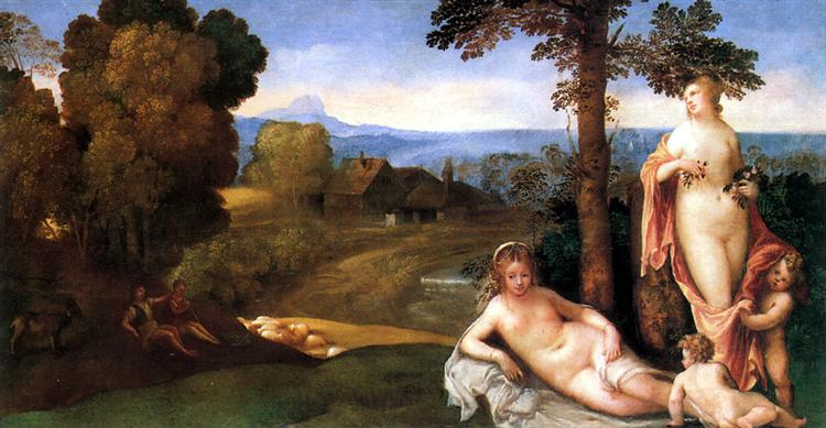 Nymphs And Children In a Landscape With Shepherds - Giorgione