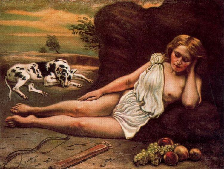 Diana sleep in the woods, 1933 - Giorgio de Chirico