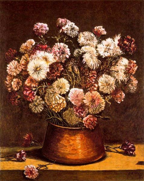 Still life with flowers in copper bowl, c.1965 - Giorgio de Chirico