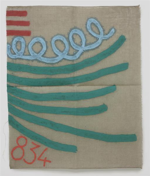 Tre linee con arabesco n. 834, 1993 - Giorgio Griffa