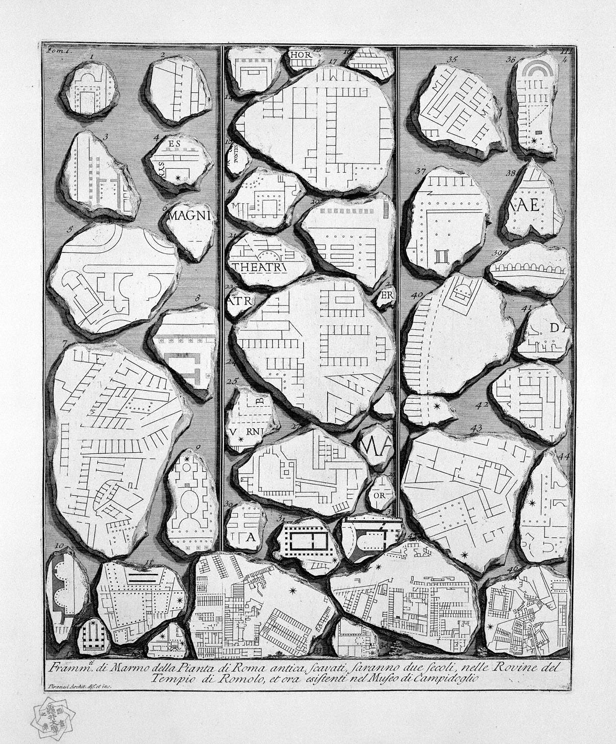 The Roman antiquities, t. 1, Plate III.  Map of ancient Rome and Forma Urbis., 1756