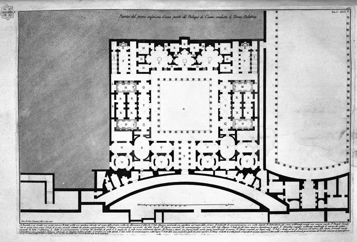 The Roman antiquities, t. 1, Plate XLV. Plan of upper floor of the Caesars Palace de `d` home `s believed Augustus (Drawing and inc. By Francesco Piranesi), 1756