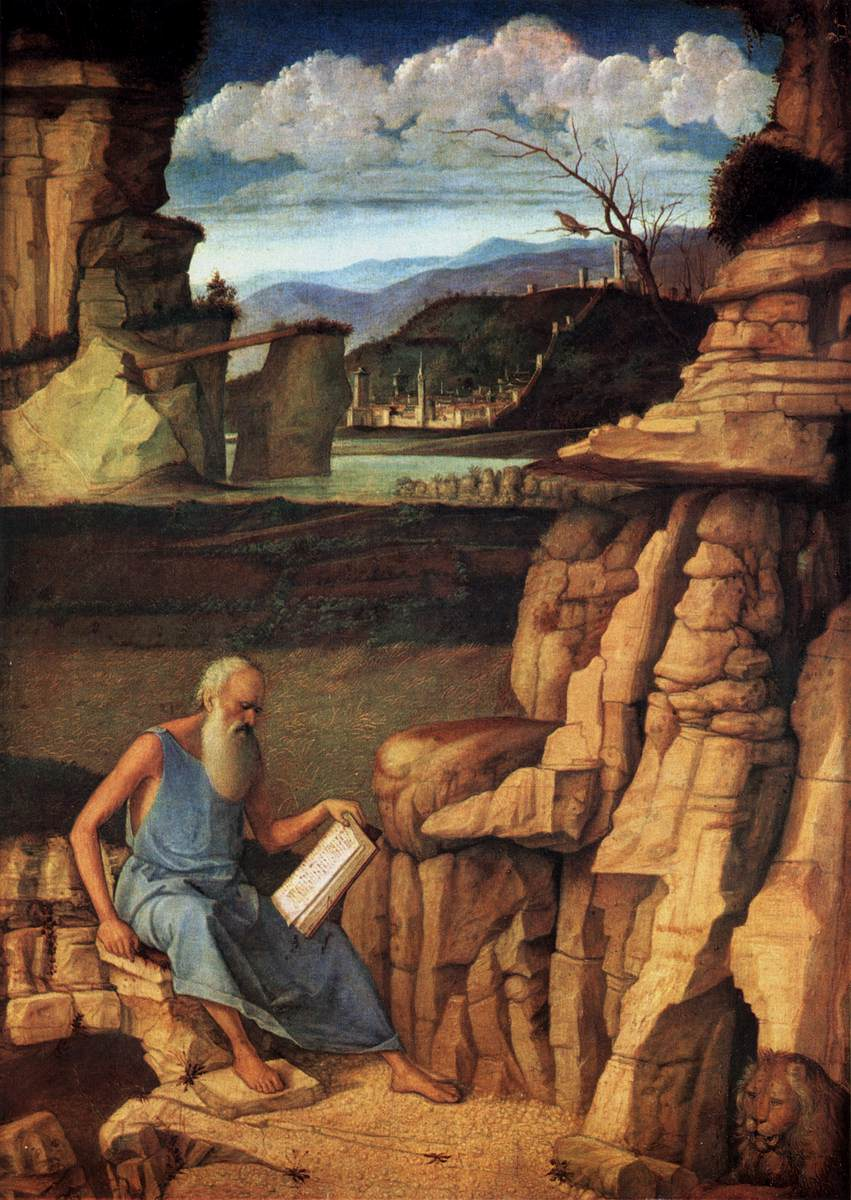St Jerome Reading In The Countryside Giovanni Bellini