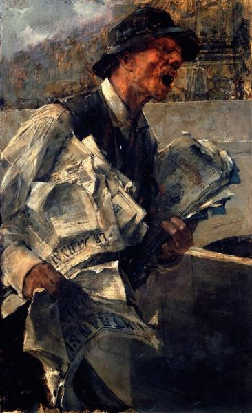 Newspaperman in Paris (The newspaper) - Boldini Giovanni