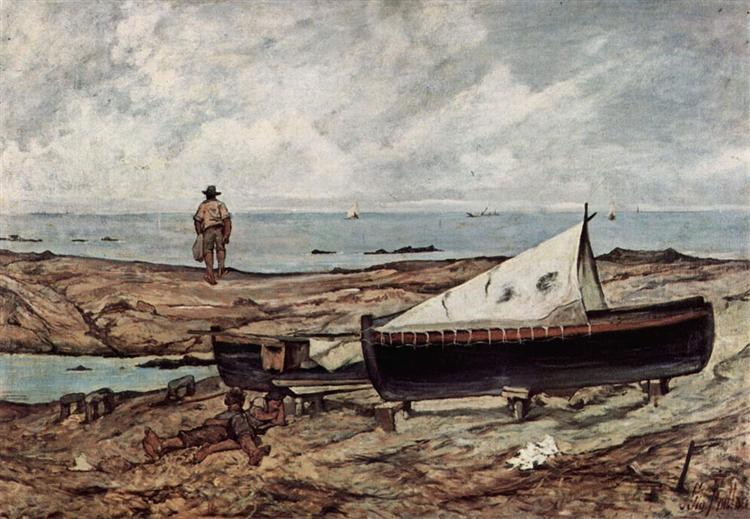 Der graue Tag (Strand mit Fischern und Booten), 1891 - Джованні Фатторі