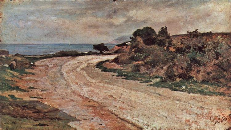 Strasse am Ufer des Meeres, 1895 - Джованні Фатторі