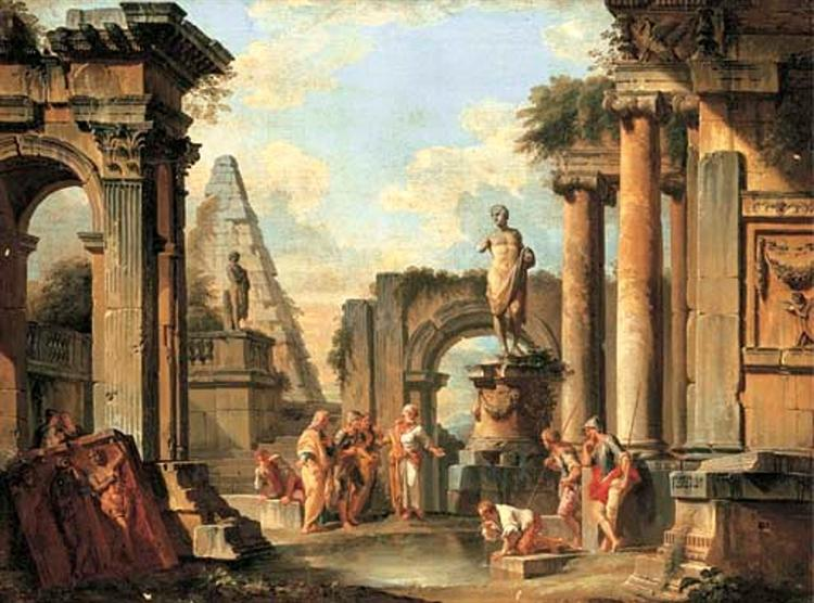 A capriccio of classical ruins with Diogenes throwing away his cup, 1729 - Джованні Паоло Паніні