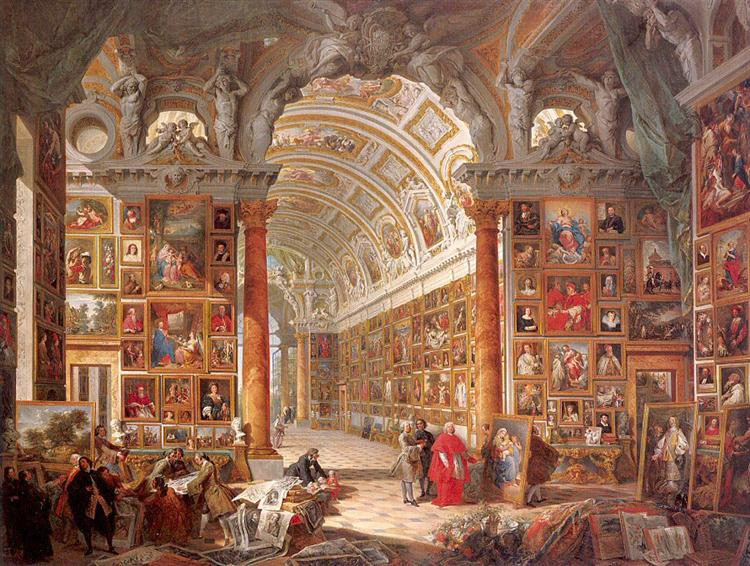 Interior of a Picture Gallery with the Collection of Cardinal Silvio Valenti Gonzaga, 1740 - Джованні Паоло Паніні