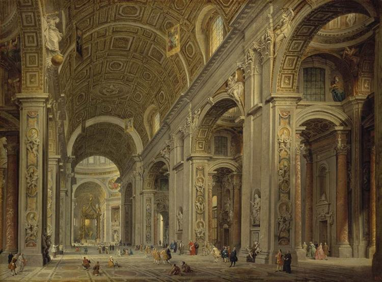 Interior of St Peter's in Rome, 1750 - Giovanni Paolo Panini