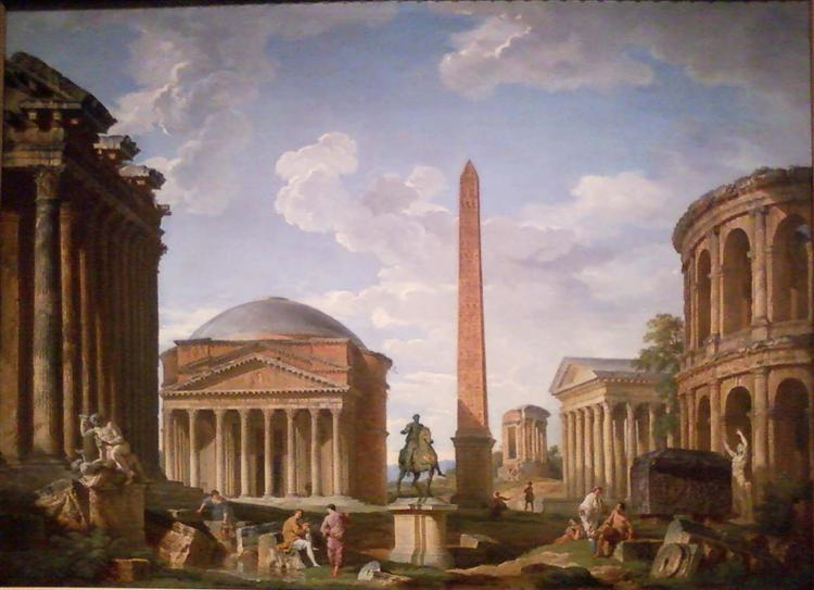 Roman Capriccio: The Pantheon and Other Monuments, 1735 - Giovanni Paolo Pannini