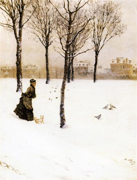 A Winter's Landscape, 1875 - Джузеппе Де Ниттис