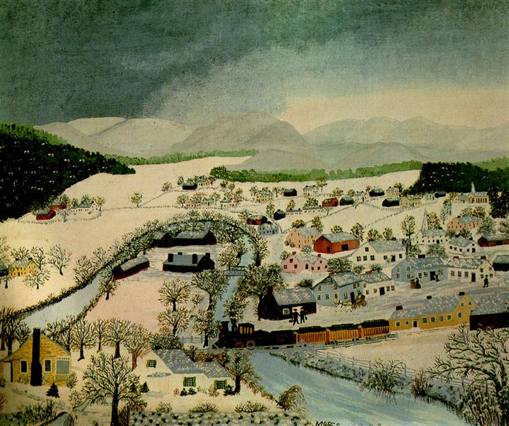 Hoosick Falls, New York, in Winter - Grandma Moses