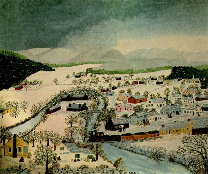 Hoosick Falls, New York, in Winter, 1944 - Grandma Moses