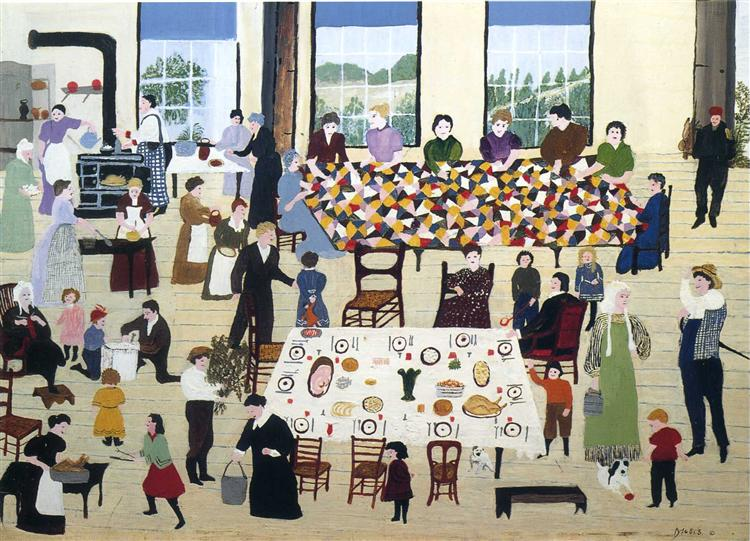 The Quilting Bee, 1940 - 1950 - Grandma Moses