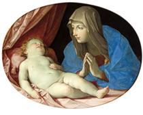Virgin and Childadoring - Guido Reni