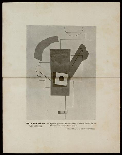 Syntese geometral de uma cabeça x infinito plástico de ambiente x transcendentalismo físico (SENSIBILIDADE RADIOGRAPHICA), 1913 - Guilherme de Santa-Rita