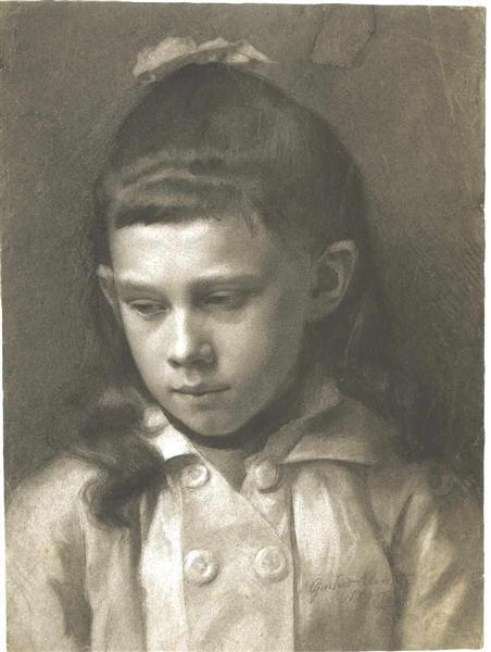 Portrait of a Girl, Head Slightly Turned Left, 1879 - Gustav Klimt