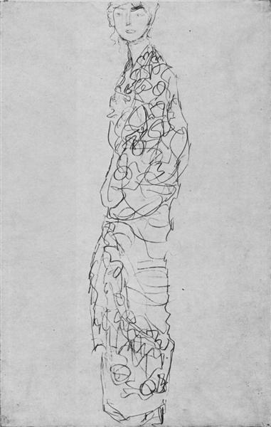 Standing Woman in Kimono (Dame im Kimono), 1917 - 1918 - Gustav Klimt