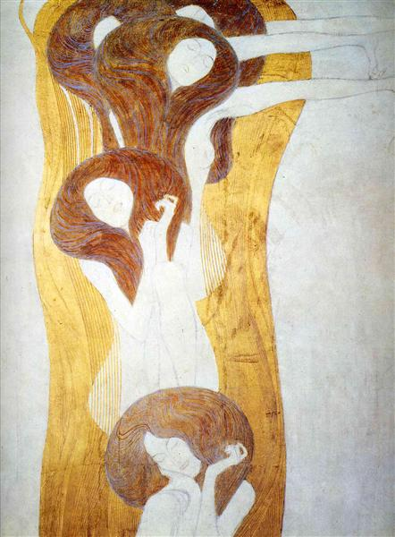 The Beethoven Frieze: The Longing for Happiness Finds Repose in Poetry. Right wall, detail, 1902 - Gustav Klimt