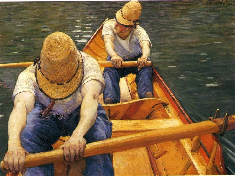 Boaters Rowing on the Yerres, c.1877 - c.1879 - Gustave Caillebotte