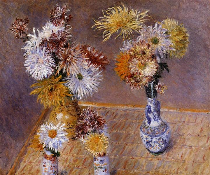 Four Vases of Chrysanthemums, 1893 - Gustave Caillebotte