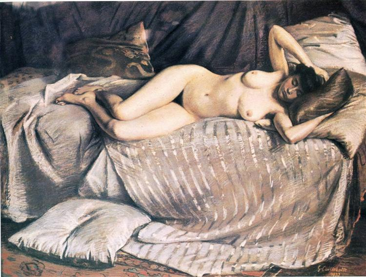 Naked Woman Lying on a Couch - Gustave Caillebotte