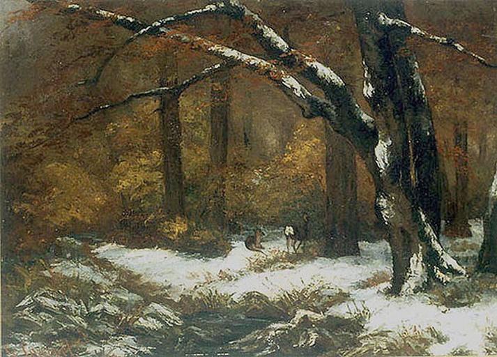 Deer's Shelter in Winter - Gustave Courbet