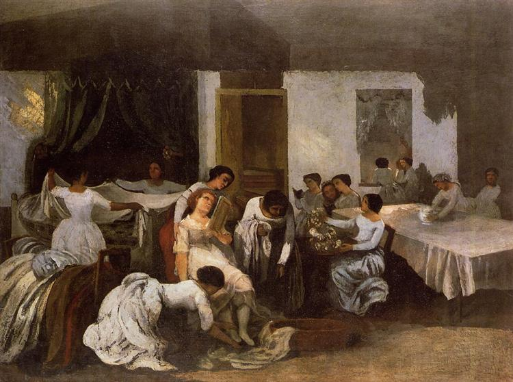 Dressing the Dead Girl (Dressing the Bride), c.1855 - Gustave Courbet