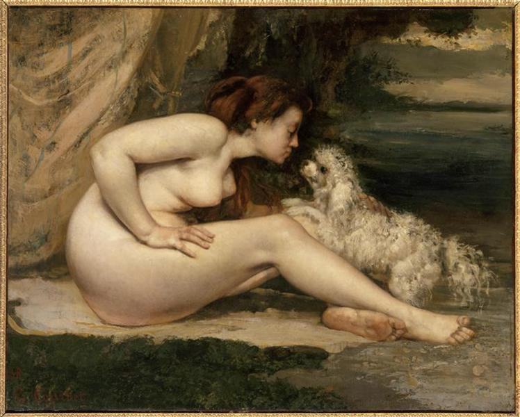 Female Nude with a Dog (Portrait of Leotine Renaude) - Gustave Courbet