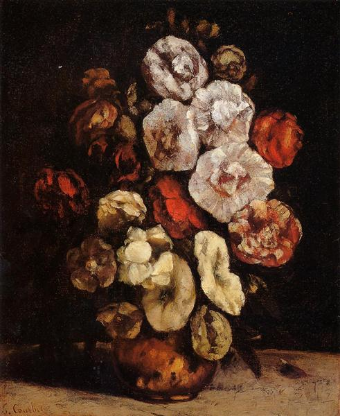 Hollyhocks in a Copper Bowl, 1872 - Gustave Courbet