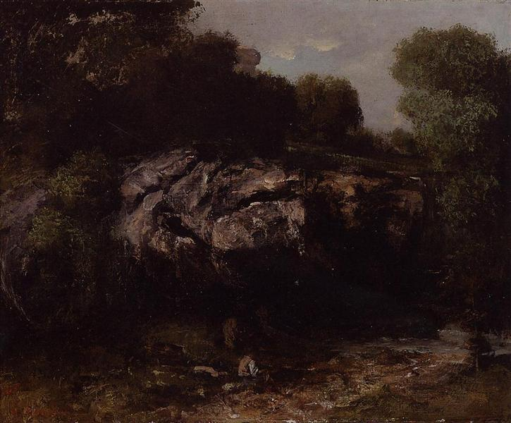 Rocky Landscape with Figure, 1865 - Gustave Courbet