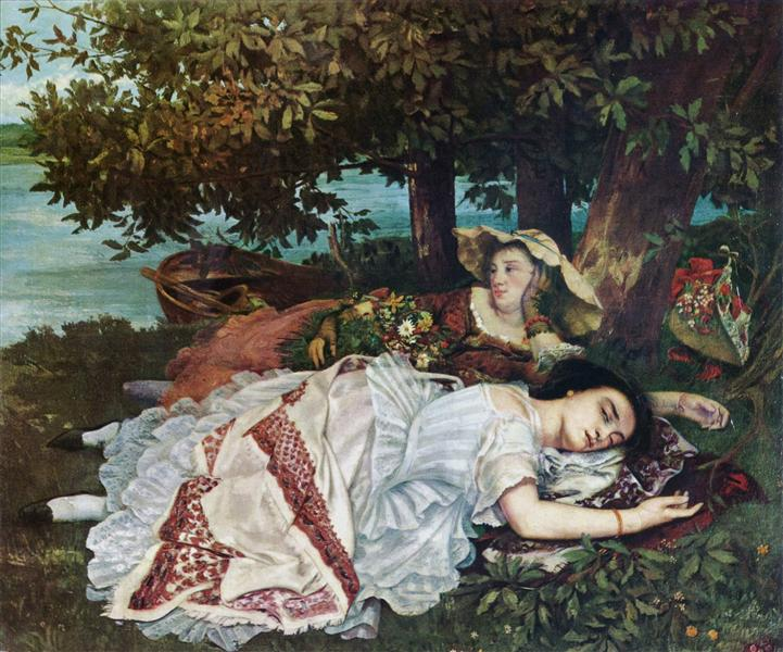 Young Ladies on the Banks of the Seine (Summer), 1856 - 1857 - Gustave Courbet