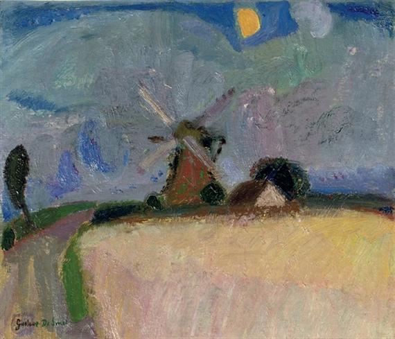 A windmill in a landscape, Het Gooi, 1916 - Gustave de Smet